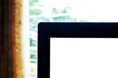 Close-up laptop corner background with copyspace Stock Photos