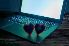 Close up of laptop and love message in stay connected, online dating or shopping for Valentines day royalty free stock images