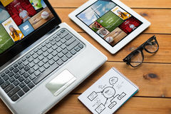 Close up of on laptop, tablet pc and notebook Stock Images