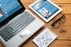 Close up of on laptop, tablet pc and notebook Stock Image