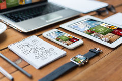 Close up of on laptop, tablet pc and smartphone Royalty Free Stock Photos