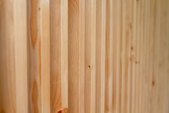 Close up large brown wooden battens. Close up large brown wooden battens for blinds and sunscreen protection royalty free stock image