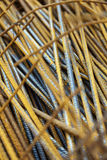 Steel Rods for Construction. Close up of a large cluster of steel rods intended for use at a construction site Stock Photos