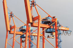Close up of large cranes Royalty Free Stock Photo