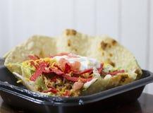 Taco Bowl. Close up of a large, crispy taco bowl Stock Photography