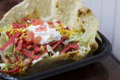 Taco Bowl. Close up of a large, crispy taco bowl Royalty Free Stock Photo