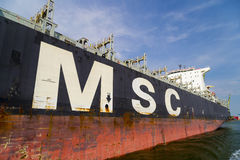 Close-up of large MSC cargo container vessel Stock Image
