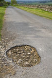 Close up of a large pot hole Royalty Free Stock Image