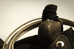 Saddle and Lariat. Close-up of lariat hanging on a saddle horn Stock Image
