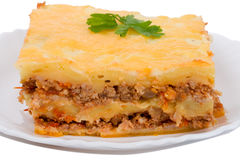 Close-up lasagne on plate Royalty Free Stock Images