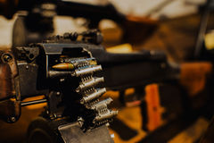 Close up on last bullet in the machine gun Stock Photography