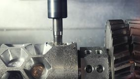 Close-up of lathe internal thread on a factory, parts production concept. Media. Process of internal threading and piece. Close-up of lathe internal thread on a stock video footage