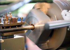 Close Up of Lathe in Operation Stock Images