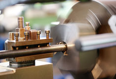 Close Up of Lathe in Operation Stock Photo