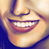Close up of a laughing girls face - digital art. Digital painting of a close up view of a young womans smile Royalty Free Stock Images
