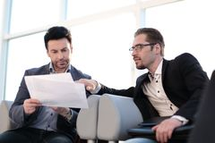 Close up.lawyer discussing with client business documents. The concept of professional consultation royalty free stock photo