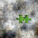 CLose up of leaf and puzzle Royalty Free Stock Image