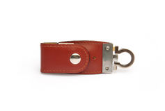 Close up leather key ring on white background. Close up brown leather key ring on white background Royalty Free Stock Photo