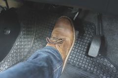 Close up Leather Shoe ob pedal. In car Stock Images