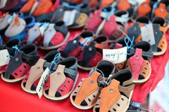 Close-up leather shoes for children, many colors, beautiful, vintage style. stock images