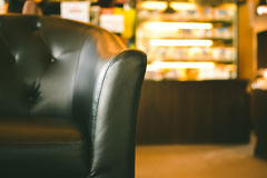 Close up leather sofa in the coffee shop Royalty Free Stock Photo