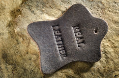 Close up of leather tag on aged paper background Stock Photography