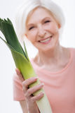 Close up of leek being situated in female hand Royalty Free Stock Photo