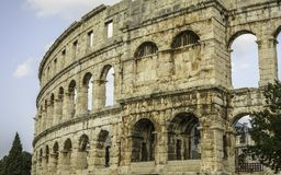 The Arena in Pula. Close up of The left side of the Arena in Pula, Croatia Stock Images