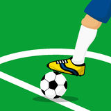 Close up leg of soccer player. Stock Image