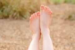 Close Up leg,woman With legs gesture Stock Photos