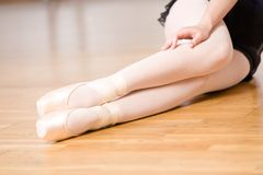 Close up of legs of ballerina in pointes Stock Photo