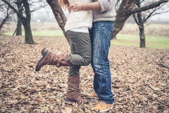 Close up of legs couple in love Royalty Free Stock Photo