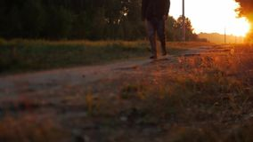 Close up of legs on path in the forest stock video footage