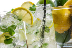 Close-up on lemon drink with ice Royalty Free Stock Image