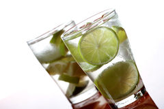 Close up of lemon drink with ice cubes Stock Photography