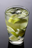 Close up of lemon drink with ice cubes Stock Photo