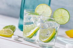 Close-up on lemon drink with ice Stock Photography