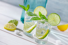 Close-up on lemon drink with ice Royalty Free Stock Photo