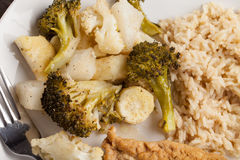 Close up of Lemon Lime Chicken and roasted vegetables Royalty Free Stock Photos