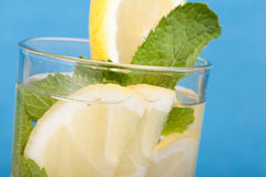 Close up lemon and mint drink Stock Photography