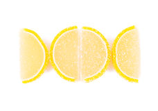 Close up of lemon segments fruit jelly. On white background Stock Images