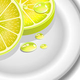 Close-up of a lemon slice with drops Royalty Free Stock Photography