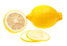 Close-up lemon slice isolated on white Royalty Free Stock Image