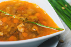 Close up lentil soup with chorizo and vegetables Royalty Free Stock Images
