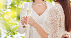 Close up of lesbian couple with champagne glasses Royalty Free Stock Photography