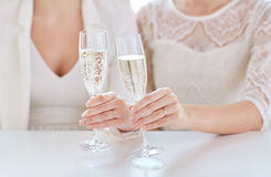Close up of lesbian couple with champagne glasses Royalty Free Stock Images