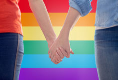 Close up of lesbian couple holding hands Stock Photos