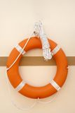 Close up of lifebuoy. Hung on wall Stock Photo