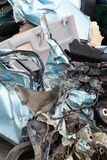 Close-up, light blue car was demolished. Royalty Free Stock Photography