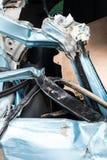 Close-up, light blue car was demolished. Royalty Free Stock Image